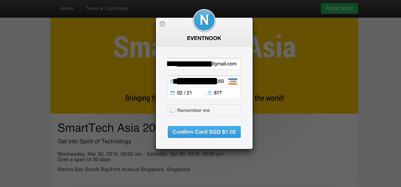 Online Payment with Stripe at EventNook