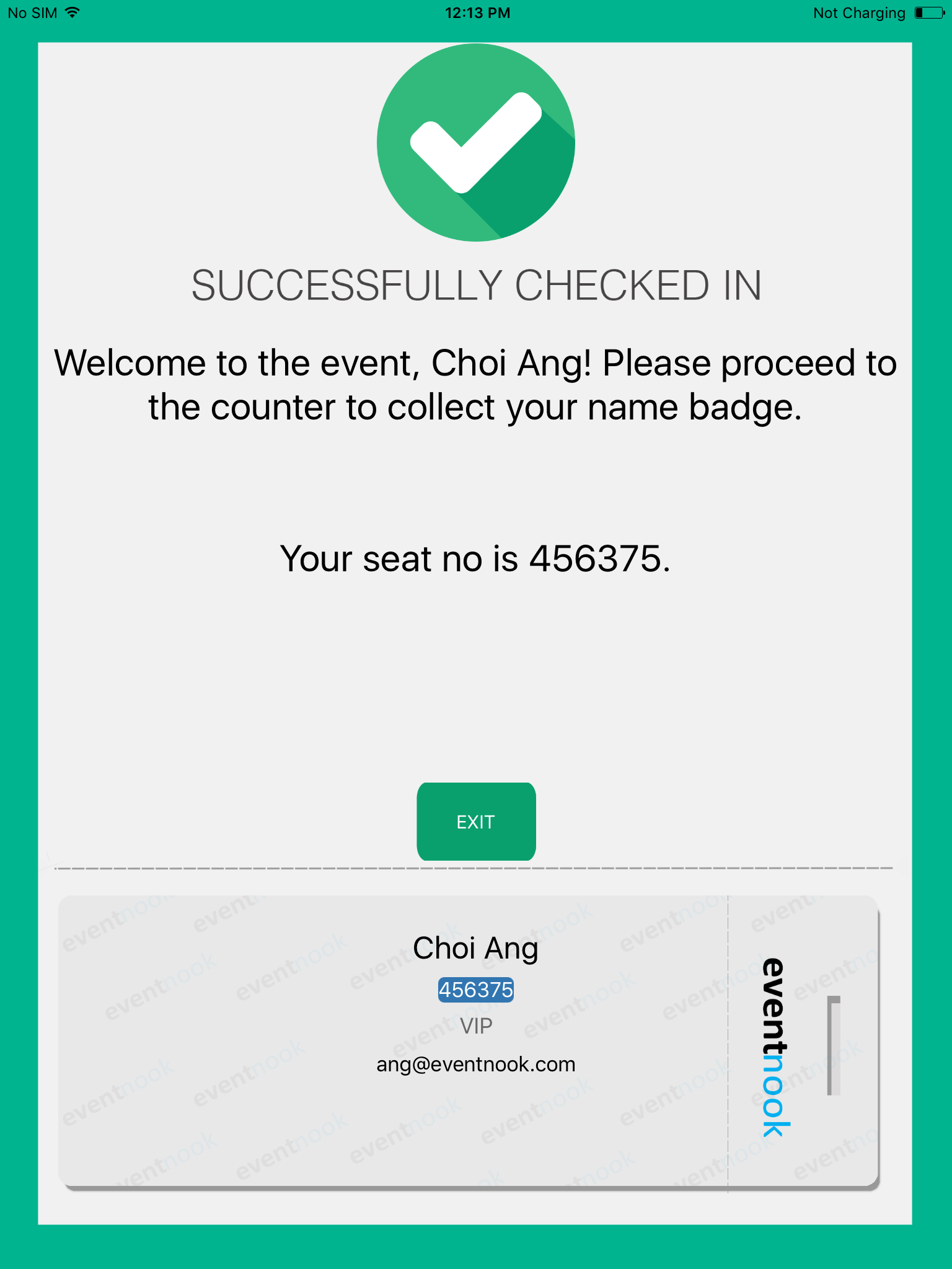 Success Check-in Message