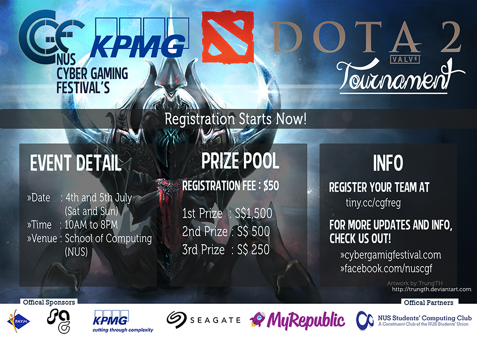 nus cyber gaming festival 2015 dota 2 registration singapore