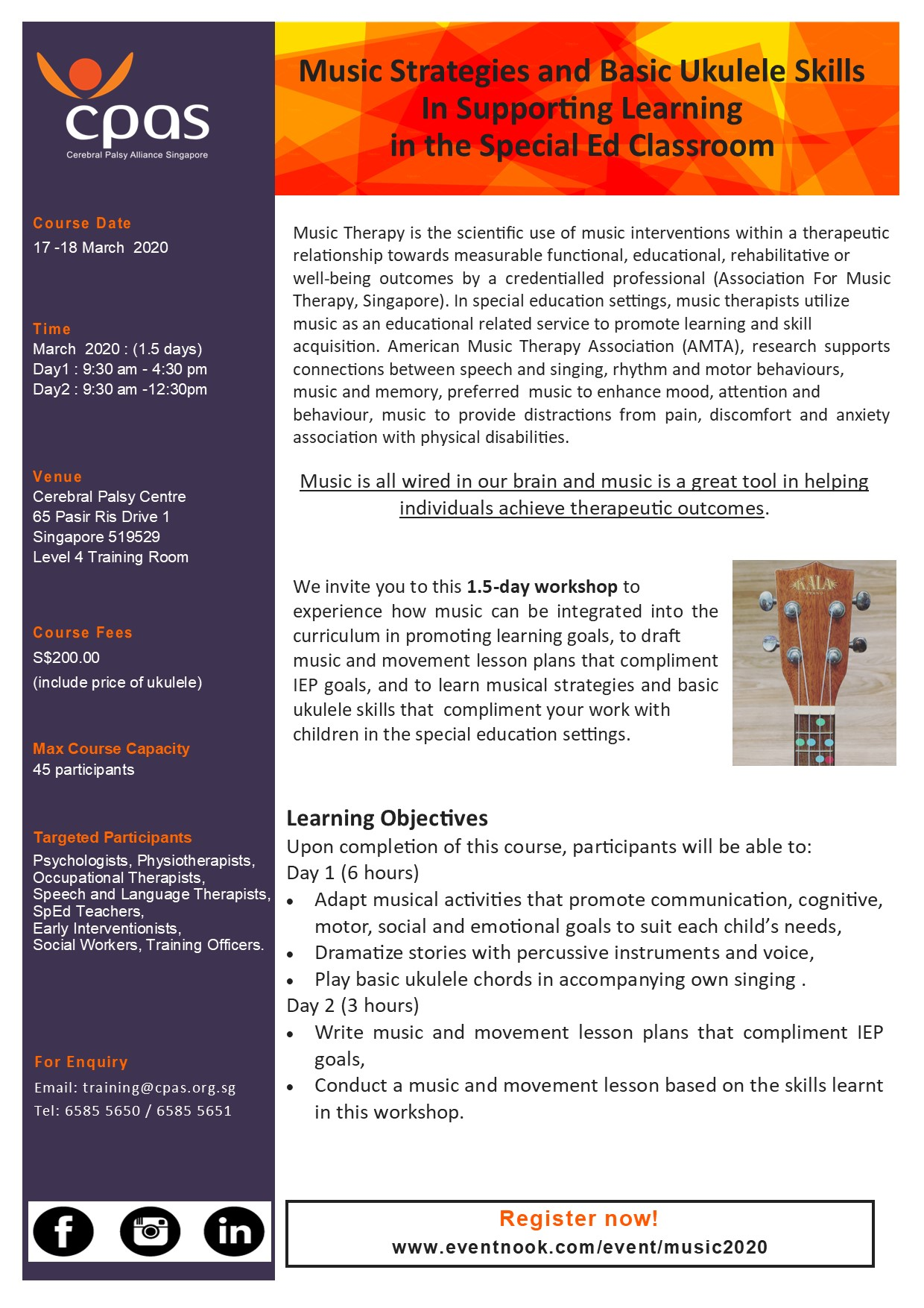 Music Strategies and Basic Ukulele Skills In Supporting Learning in the Special Ed Classroom