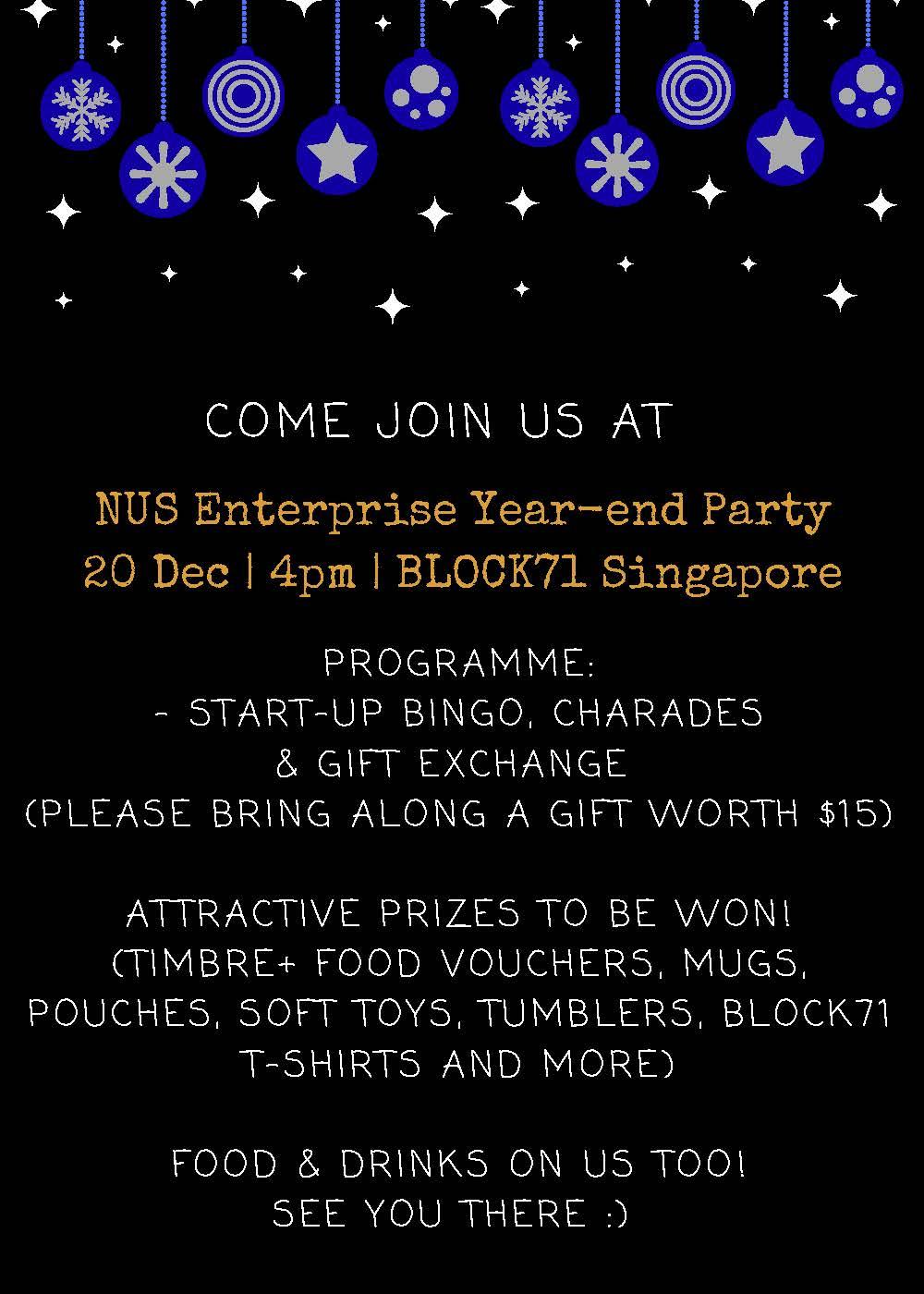 Nus Enterprise Year End Party 2017 Registration Singapore