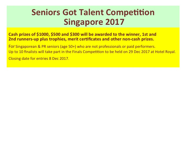 Seniors Got Talent Competition Singapore 2017 Banner Image