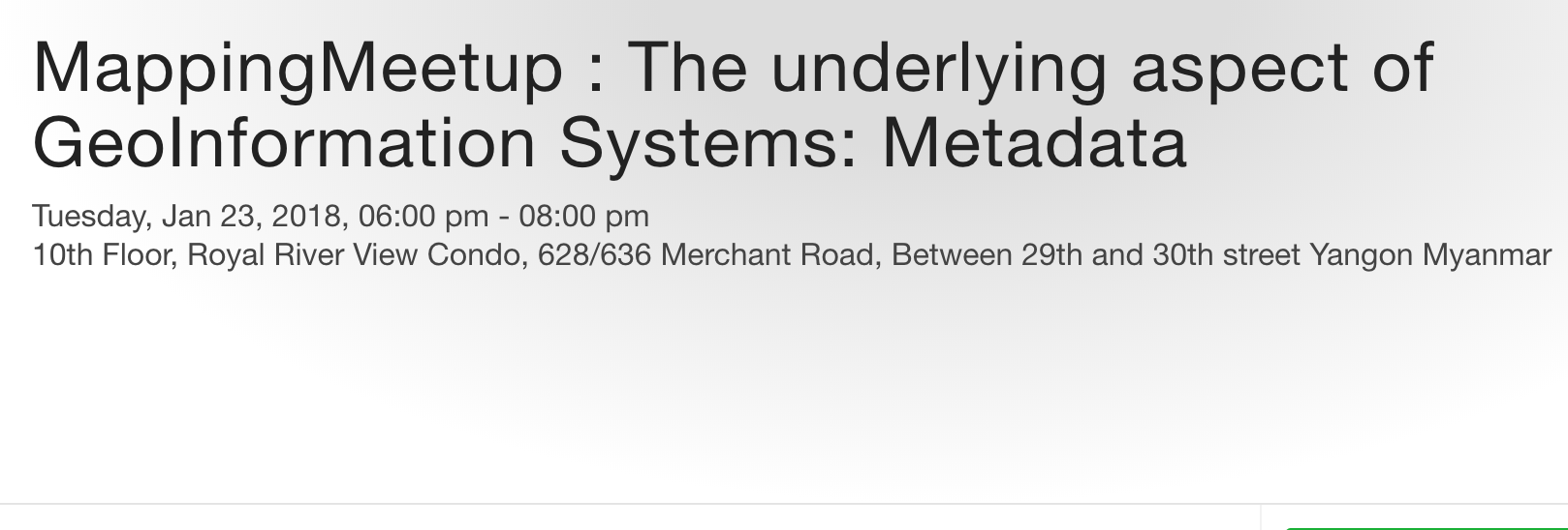 MappingMeetup : The underlying aspect of GeoInformation Systems: Metadata