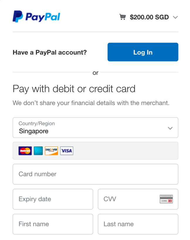 PayPal interface