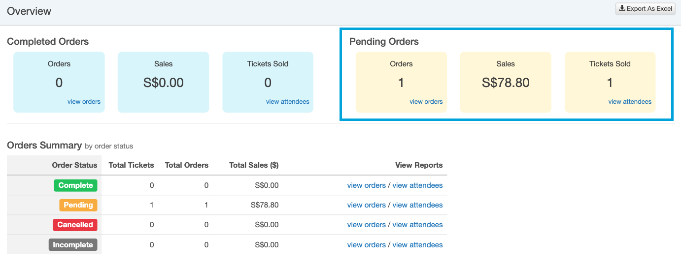 Event Dashboard - Pending Orders