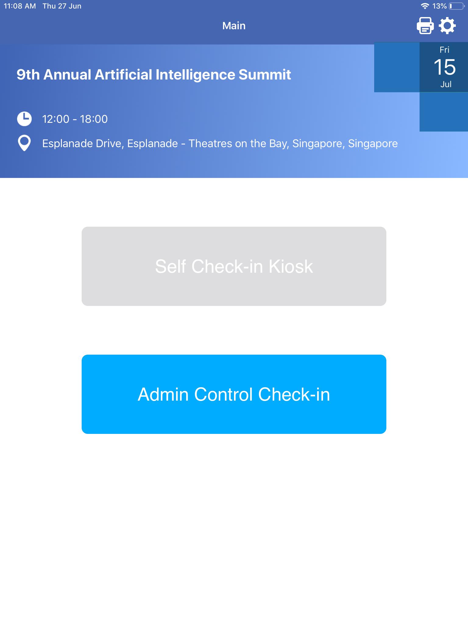 Admin Control Check-in