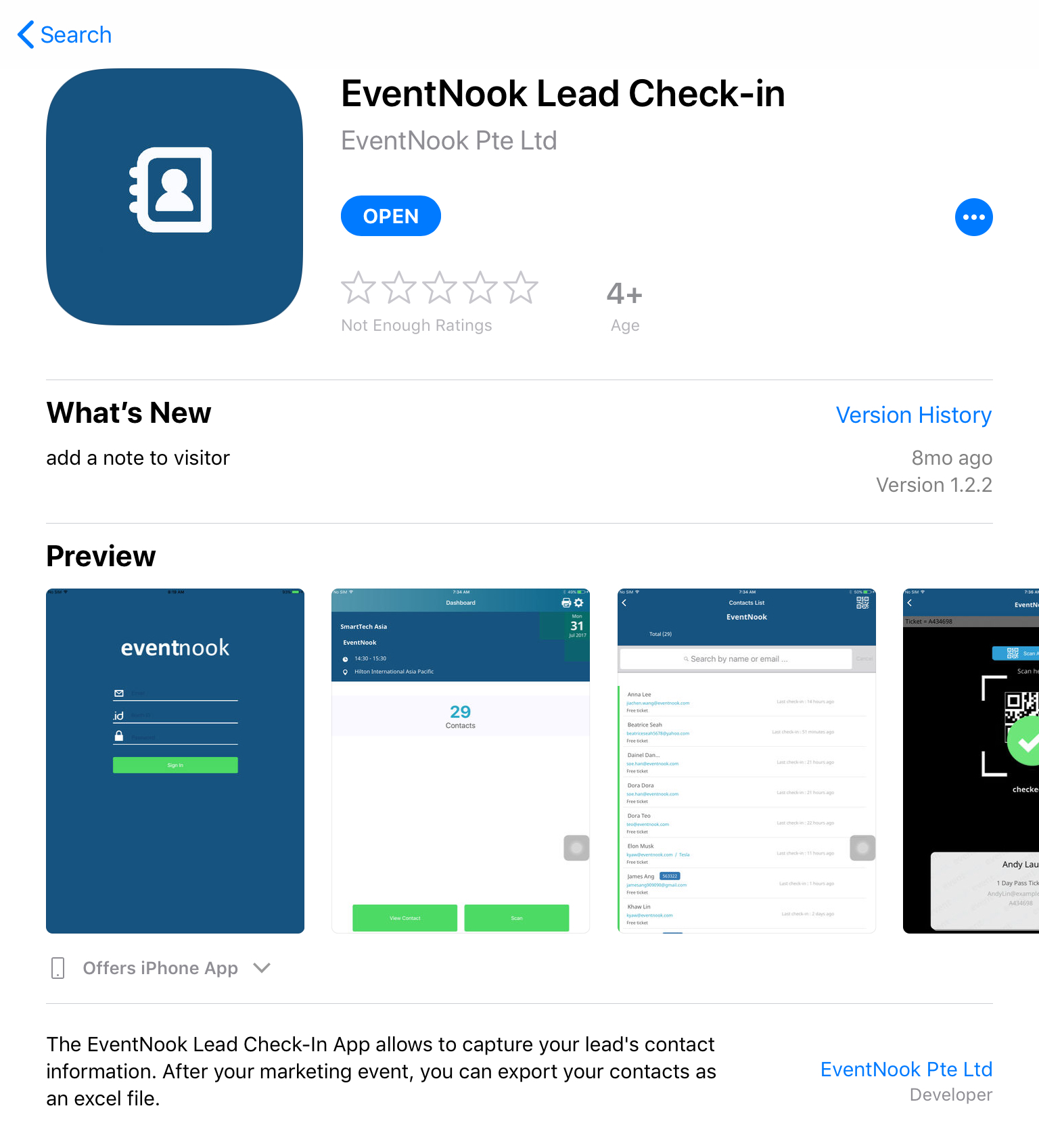 Lead Check-In App Store