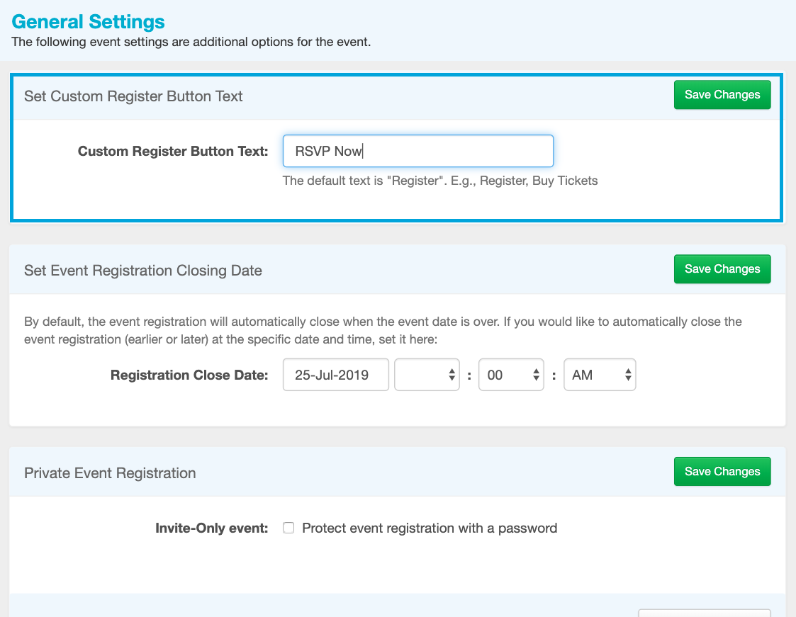 Register Button Settings