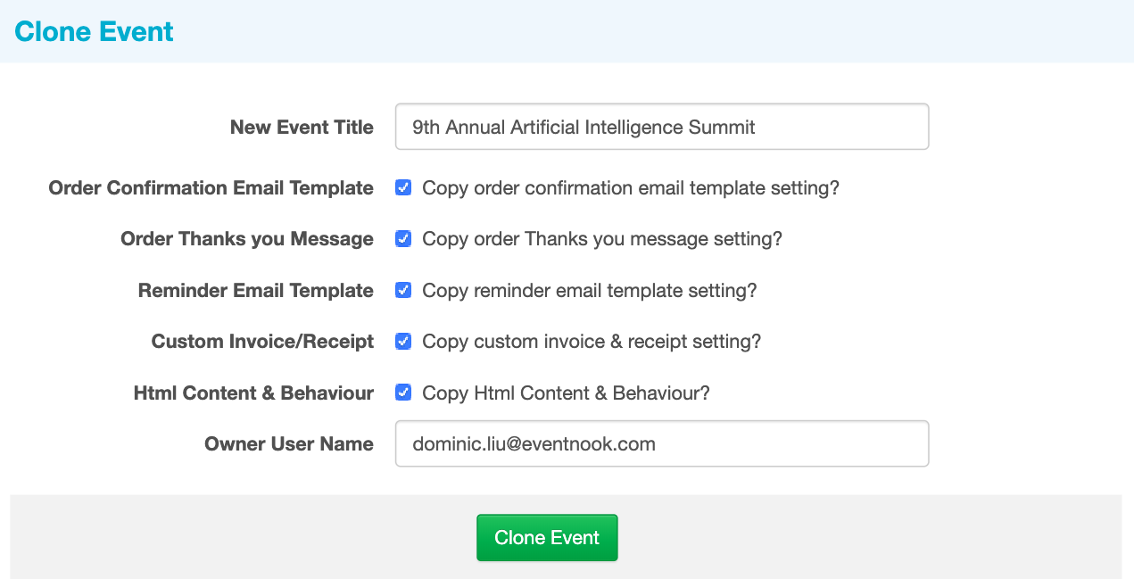 Clone Your Event