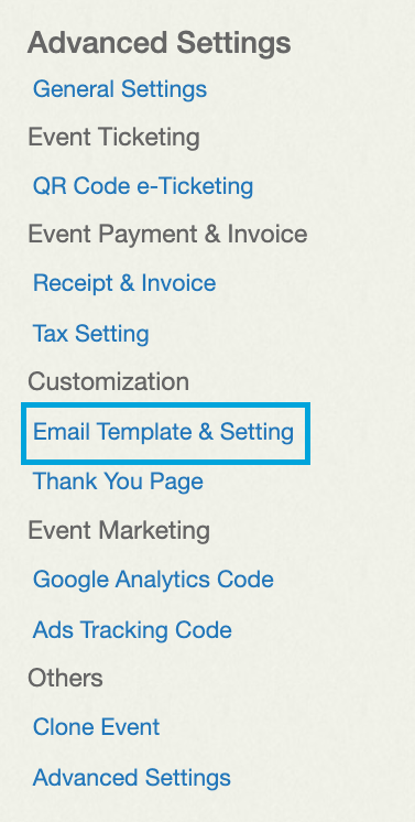 Email Template & Settings