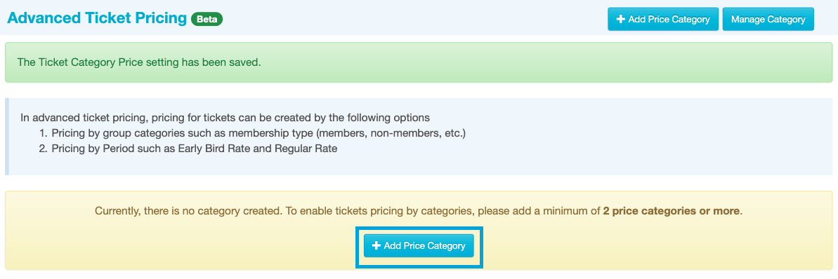 Add Ticket Categories