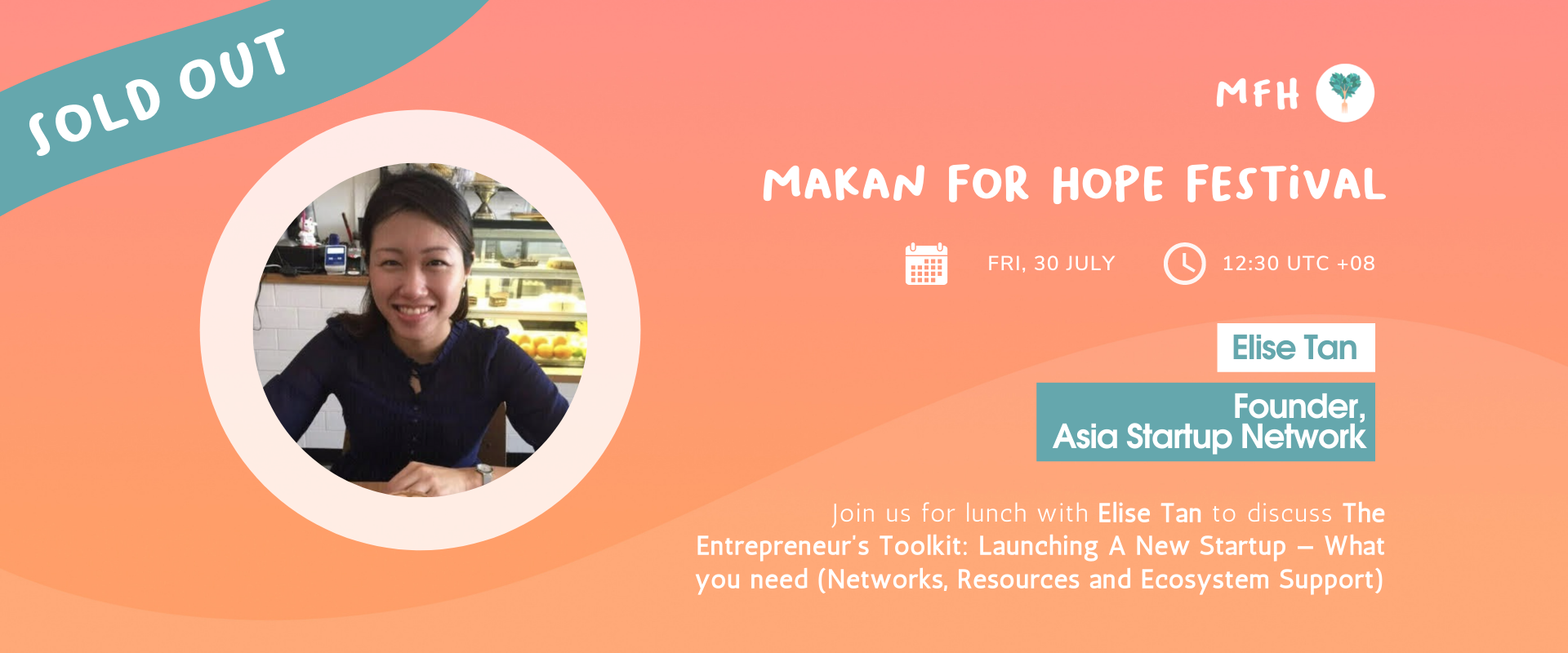 [SOLD OUT!] Elise Tan - The Entrepreneur's Toolkit: Launching A New Startup — What You Need (Networks, Resources and Ecosystem Support) Banner Image