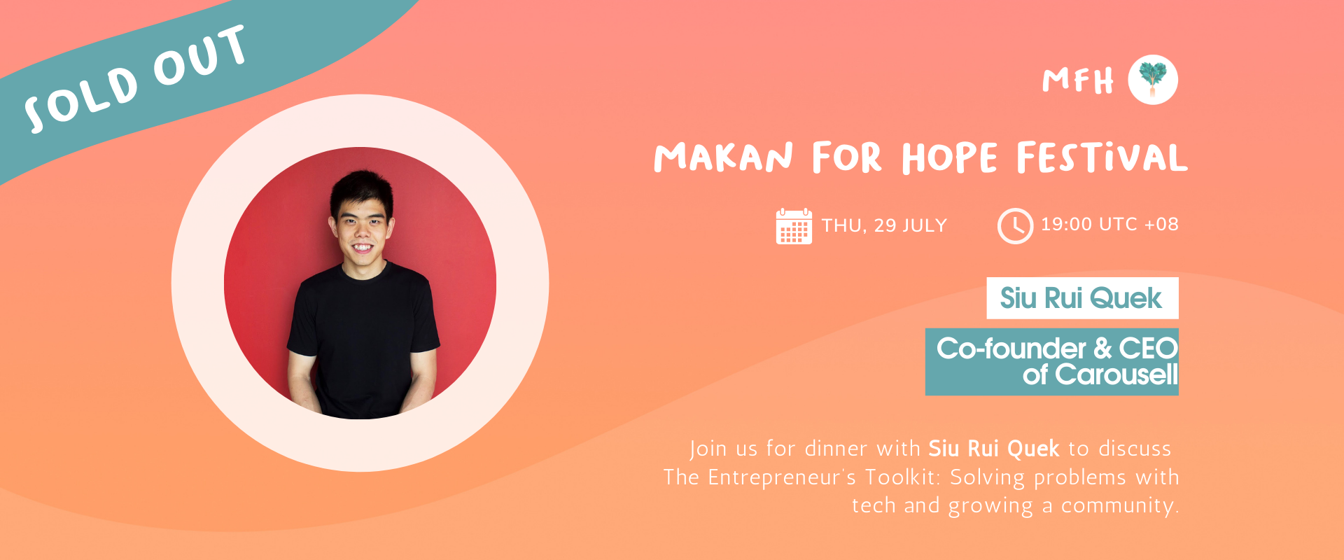 [SOLD OUT!] Siu Rui Quek - The Entrepreneur's Toolkit: Solving Problems with Tech and Growing a Community Banner Image